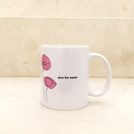 Taza flores rosas save the mama